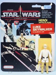 Brinquedos Antigos - Glasslite - Luke Skywalker O Cavalheiro Jedi Star Wars Lucas Film perfeito estado completo com Sabre de Luz acompanha Cartela original Década de 1980