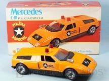 Brinquedos Antigos - Glasslite - Mercedes Benz C-111 Polícia Especial com 26,00 cm de comprimento Sistema Bate e Volta abre as portas e o capô do motor Década de 1980