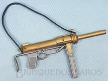 1. Brinquedos antigos - Estrela - Metralhadora de mão cinza e dourada Edição 1978