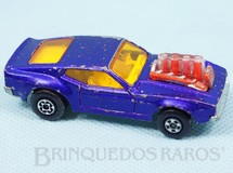 1. Brinquedos antigos - Matchbox - Mustang Piston Popper azul metálico Rola-Matics