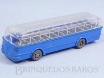1. Brinquedos antigos - Wiking - Ônibus Bussing azul com teto transparente Década de 1960