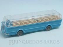 1. Brinquedos antigos - Wiking - Ônibus Bussing azul com teto transparente Década de 1950