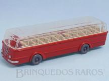 1. Brinquedos antigos - Wiking - Ônibus Bussing vermelho com teto transparente Década de 1950