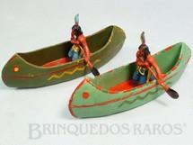 Brinquedos Antigos - Casablanca e Gulliver - Par de Canoas com �ndios remando Conjunto original Casablanca S�rie Acampamento Apache