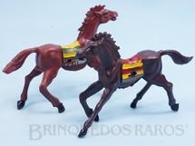 Brinquedos Antigos - Casablanca e Gulliver - Par de Cavalos índio marrons com furo lateral para Carroças