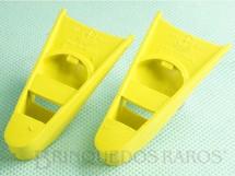 Brinquedos Antigos - Estrela - Par de Pés de Pato amarelos Aventura Resgate do Míssil Atômico Detector da Ameaça Explosiva Ano 1977