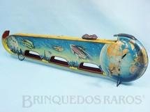 1. Brinquedos antigos - Technofix - Pista Espacial Viagem da Terra à Lua Voyage To The Moon 49,00 cm de comprimento Falta a Nave Espacial Ano 1951