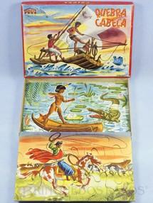 1. Brinquedos antigos - Coluna - Quebra Cabeça com 3 Cenas Regionais do Brasil Década de 1960