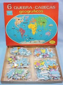 1. Brinquedos antigos - Coluna - Quebra Cabeça com 6 mapas Geográficos Década de 1970