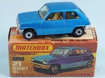 Brinquedos Antigos - Matchbox - Renault 5 TL Superfast azul metálico