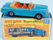 Brinquedos Antigos - Matchbox - Rolls Royce Silver Shadow Coupe azul metálico Superfast Transitional Weels