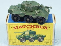 1. Brinquedos antigos - Matchbox - Saladin Armoured Car 6x6 Black Plastic Regular Wheels