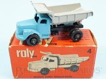 1. Brinquedos antigos - Roly Toys - Caminhão Basculante Scania Vabis com 7,00 cm de comprimento Década de 1960