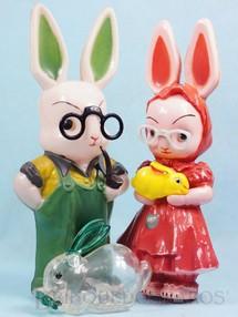 Brinquedos Antigos - Balila - Senhor e Senhora Coelho Casal de Coelhos com 29,00 cm de altura D�cada de 1960