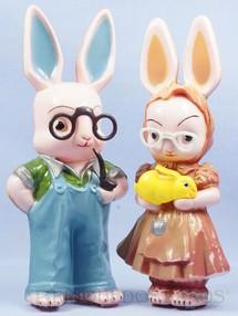 1. Brinquedos antigos - Balila - Senhor e Senhora Coelho Casal de Coelhos com 29,00 cm de altura Década de 1960