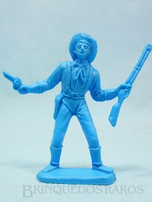 1. Brinquedos antigos - Casablanca e Gulliver - Soldado da Sétima Cavalaria de pé com rifle e revolver Plástico azul Década de 1980