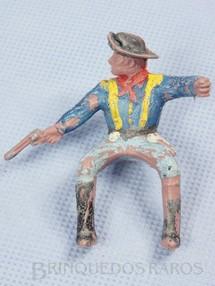1. Brinquedos antigos - Casablanca e Gulliver - Soldado da Sétima Cavalaria montado a cavalo atirando com revolver Versão de mão fechada Gulliver Década de 1970