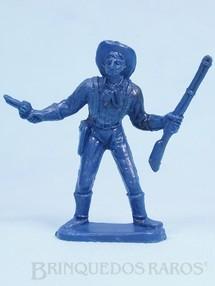 Brinquedos Antigos - Casablanca e Gulliver - Soldado da Sétima Cavalaria de pé com rifle e revolver Plástico azul Década de 1980