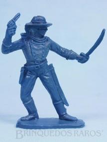 Brinquedos Antigos - Casablanca e Gulliver - Soldado da Sétima Cavalaria de pé com sabre e revolver Plástico azul Década de 1970