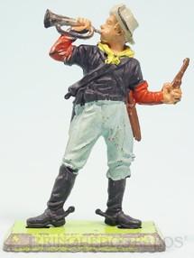 1. Brinquedos antigos - Britains - Soldado da União Guerra de Secessão de pé tocando corneta Série Deetail Década de 1970