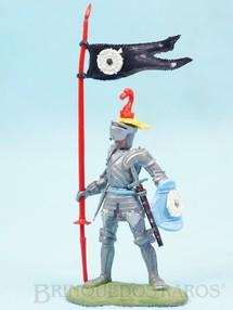 1. Brinquedos antigos - Britains - Soldado medieval com Estandarte e Escudo Série Swoppet Knights completo Perfeito estado Década de 1960