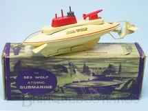1. Brinquedos antigos - Sutcliffe  - Submarino Sea Wolf Atomic Submarine com 24,00 cm de comprimento Década de 1960