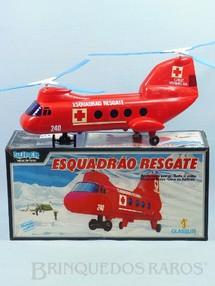 Brinquedos Antigos - Glasslite - Super Helicóptero Esquadrão Resgate com 34,00 cm de comprimento Sistema Bate e Volta Década de 1980
