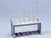 1. Brinquedos antigos - Guaporé - Suporte de plástico com 4 Tubos de ensaio de vidro para Conjunto de Química Década de 1970