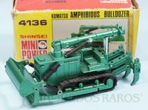 1. Brinquedos antigos - Shinsei - Trator Anfíbio Komatsu Amphibious Bulldozer com 13,00 cm de comprimento Série Mini Power Década de 1980