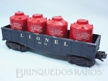 1. Brinquedos antigos - Lionel - Vagão 6112 Gondola Lionel black with four Air Activated Container Ano 1957