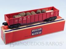 1. Brinquedos antigos - Lionel - Vagão 6462 New York Central NYC Gondola com 6 barris de madeira Ano 1955