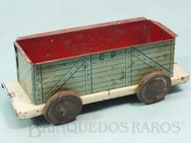 1. Brinquedos antigos - EVA - Vagão Gôndola Azul Companhia Paulista de Estradas de Ferro com 14,00 cm de comprimento Ano 1937