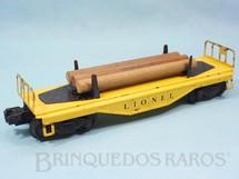 1. Brinquedos antigos - Lionel - Vagão Prancha com Toras 6111 Flat Car with Logs Ano 1955