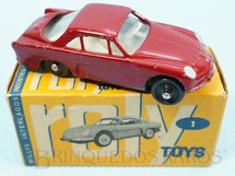 1. Brinquedos antigos - Roly Toys - Willys Interlagos Berlineta com 7,00 cm de comprimento Vermelha Década de 1960