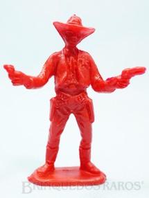 1. Brinquedos antigos - Casablanca e Gulliver - Xerife de pé com dois revolveres de plástico vermelho Década de 1980