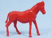 1. Brinquedos antigos - Casablanca e Gulliver - Zebra de plástico vermelho Série Zoológico década de 1970