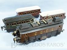 Brinquedo antigo Marklin Conjunto Gotthard com Locomotiva e três Carros de Passageiros Ano 1919 Comprimento 90,00 cm