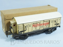 Brinquedo antigo Marklin Vagão Furgão Frigorifico com Cabine de freio Caixa Original Ano 1933 a 1935 Número 18570 Comprimento 26,00 cm