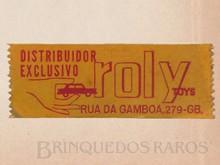 Brinquedos antigos -  - Etiqueta Logotipo Roly Toys Aplicada por fita adesiva nos brinquedos importados pela empresa Década de 60