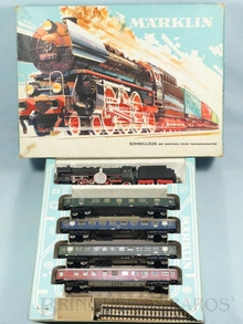 Brinquedo antigo Marklin Conjunto com Locomotiva a Vapor 3048 quatro vagões de passageiros e trilhos Ano 1962
