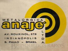 Brinquedos antigos -  - Logotipo Metalúrgica Anajé fabricante de miniaturas de Carros e Caminhões de lata estampada Ano 1965