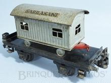 Brinquedo antigo Marklin Vagão Plataforma com Trailer Circo Sarrasani Ano 1933 a 1941 Número 1983C Comprimento 18,00 cm