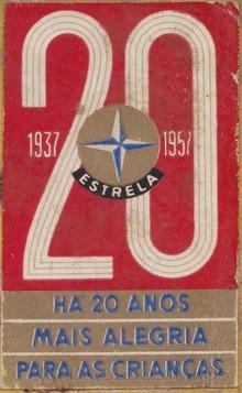 Brinquedos antigos -  - Estrela Etiqueta auto adesiva Comemorativa dos 20 anos Colada nos impressos da Fábrica no Ano 1957