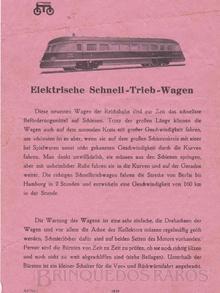 Brinquedo antigo Marklin Folheto de Instruções da Automotriz Diesel Hidraúlica Número TWE 12930 ano 1932 a 1942 Comprimento 35,00 cm