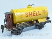 Brinquedo antigo Marklin Vagão Tanque Shell com Cabine de freio Ano 1933 a 1942 Número 1774 Caixa Original Comprimento 20,00 cm
