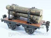 Brinquedo antigo Marklin Vagão Plataforma com Toras Ano 1933 a 1942 Número 1966/0 Comprimento 14,00 cm
