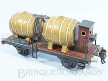 Brinquedo antigo Marklin Vagão Barril Transporte de Vinho com Cabine de freio Número 1776 Ano 1920 Comprimento 20,00 cm