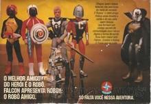 Brinquedos antigos -  - Propaganda de pagina inteira na revista Turma da Monica, de 1980, onde a Estrela dá destaque ao novo aliado do Falcon; o robot Roboy.