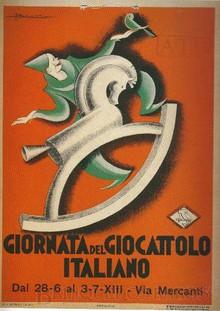 Brinquedos antigos -  - Cartaz Art Decô anunciando a Feira do Brinquedo Italiano em 1913