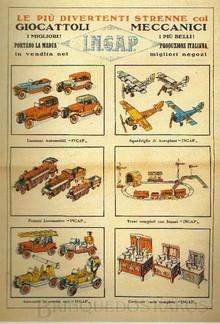 Brinquedos antigos -  - Cartaz de divulgação da industria de brinquedos Ingap de Milão, Italia, no inicio do século XX